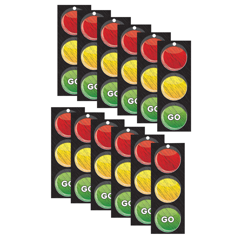 (12 Ea) Traffic Light Card Stop Go 3X9 Laminated ASH13000BN