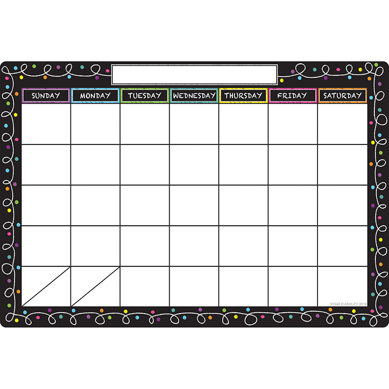 Smart Chalk Dots W Loops Calendar Chart Dry Erase Surface Ash91048