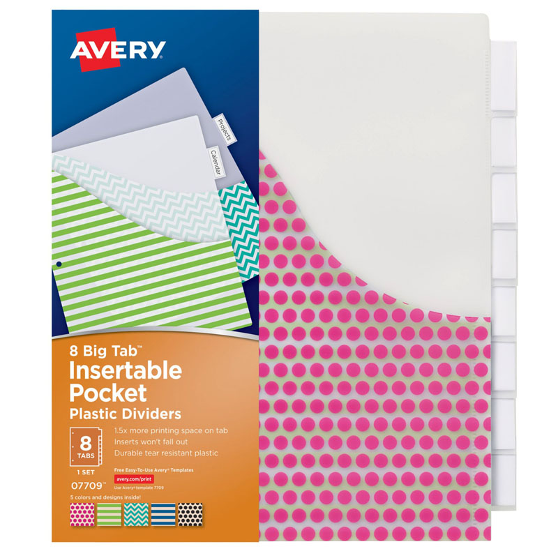 Avery big tab 8 tab pocket insertable plastic dividers set for Avery big tab inserts for dividers 8 tab template
