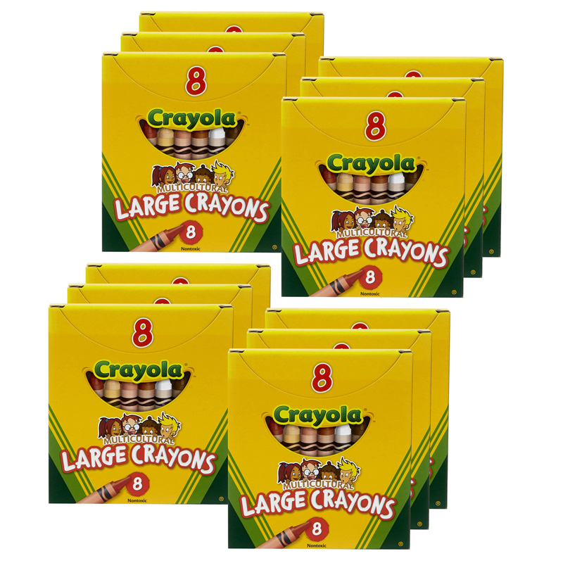(12 Bx) Multicultural Crayons Large 8 Per Pk BIN080WBN