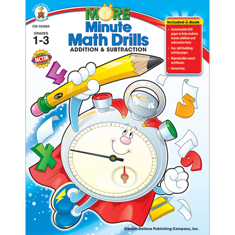 (2 Ea) Minute Math Drills Addition & Subtraction Resource Book Gr 1-3 CD-104264BN