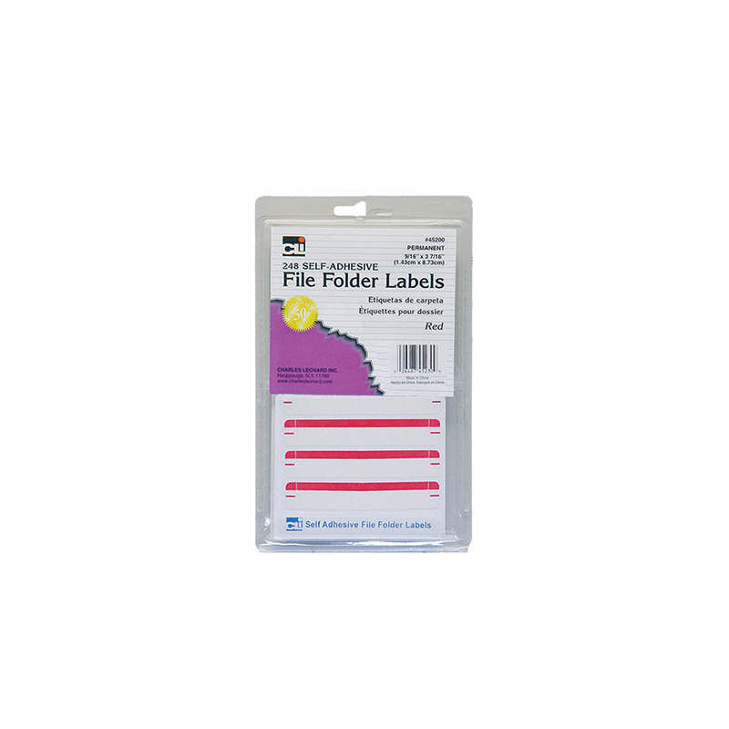 (18 Pk) File Folder Labels Red 248 Per Pk CHL45230BN