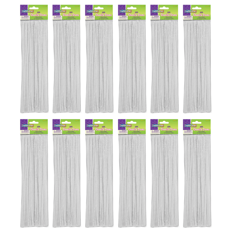 (12 Pk) Chenille Stems White 12In 100 Per Pk CK-71122BN