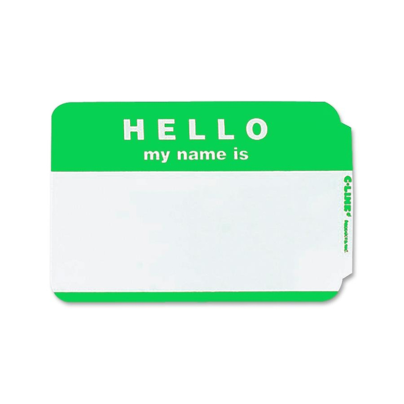 (10 Pk) C Line Self Adhesive Green Name Badges Hello 100 Per Pk CLI92233BN
