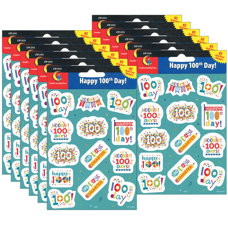 (12 Pk) Happy 100Th Day Reward Stickers CTP2111BN