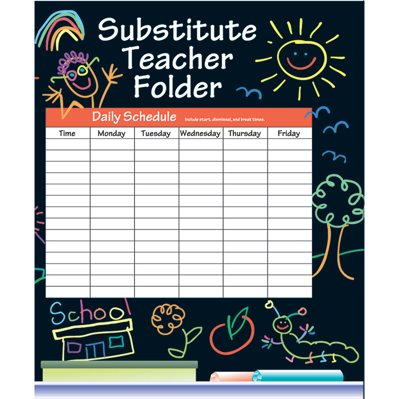 (12 Ea) Substitute Folder Elem Kid-Drawn 9X11 W/ Pocket IF-468BN
