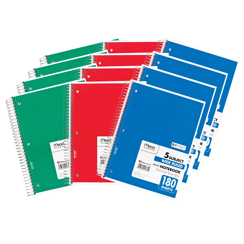 (12 Ea) Notebook Spiral 5 Subject 180Sht 10.5X8 MEA05680BN