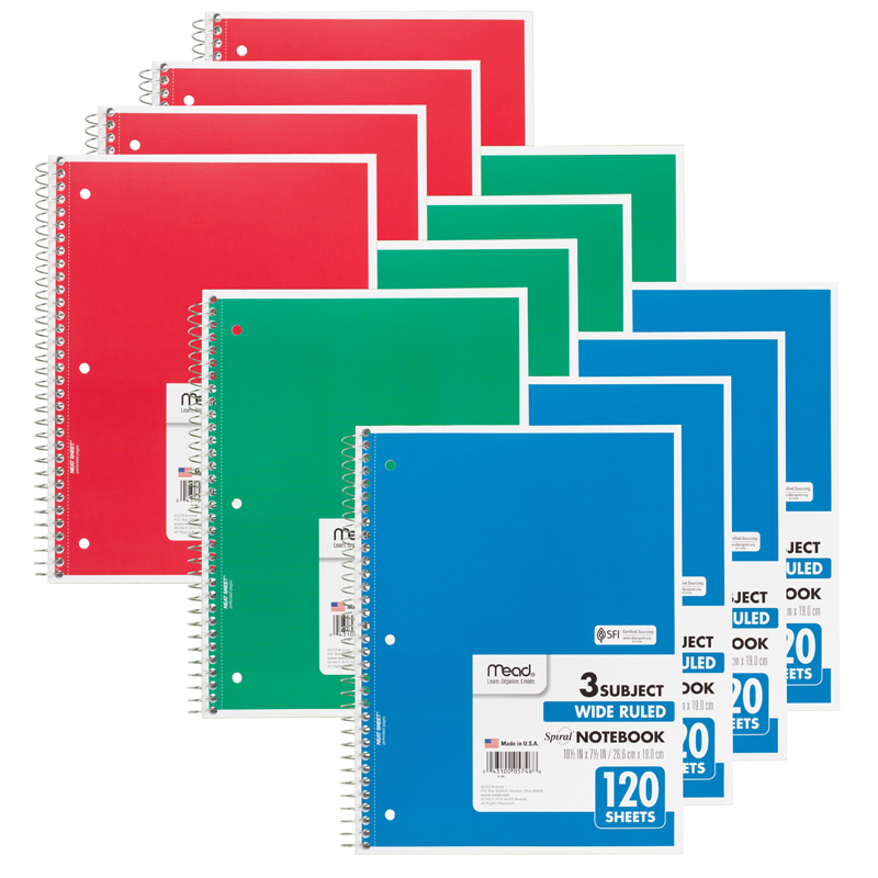 (12 Ea) Notebook Spiral 3 Subject 120Sht 10.5X8 MEA05746BN