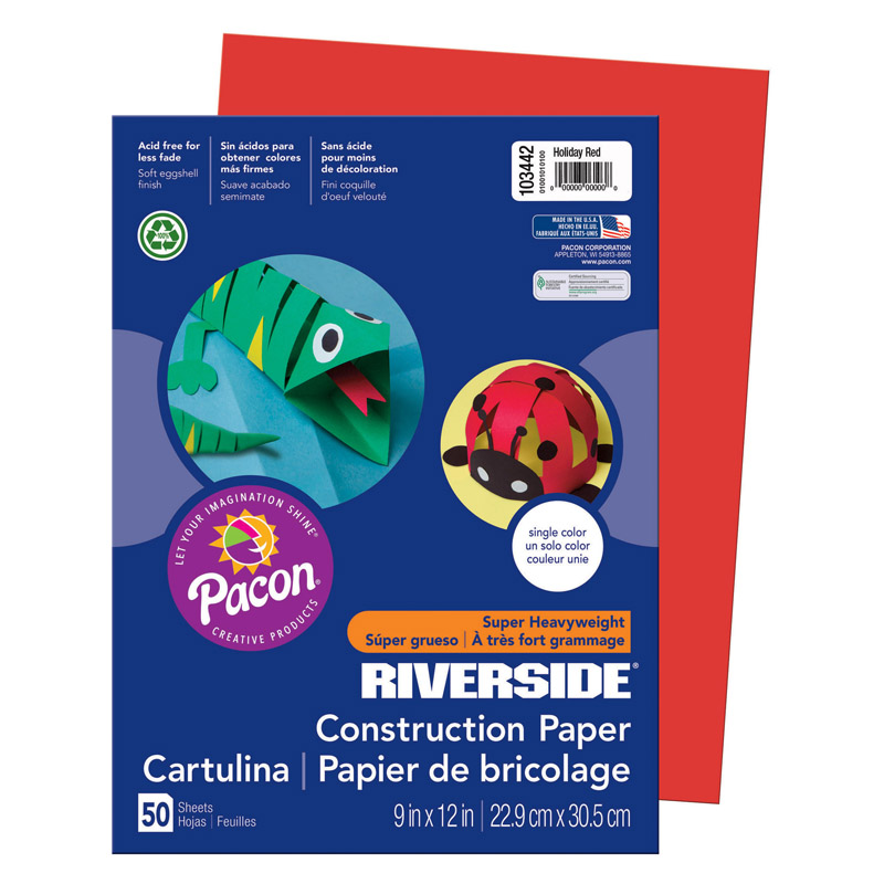 (10 Pk) Riverside 9X12 Holiday Red Construction Paper 50Sht Per Pk PAC103442BN