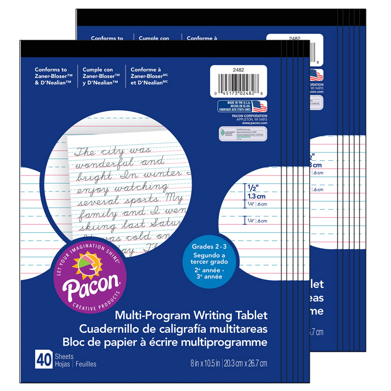 (12 Ea) Writing Paper 1/2In Ruled 8X10.5 40Sht Per Pk PAC2482BN