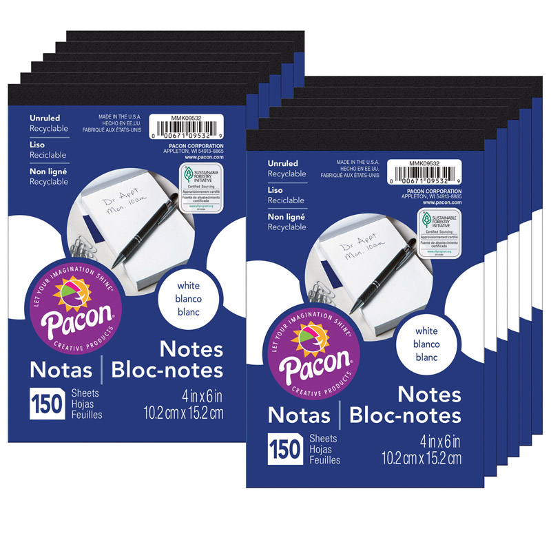(12 Ea) White Note Pads 4X6 150 Sheets Per Pad PACMMK09532BN