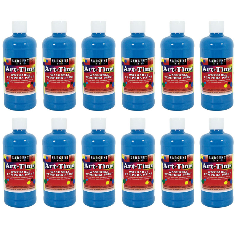 (12 Ea) Turq Art-Time Washable Paint 16 Oz SAR173461BN