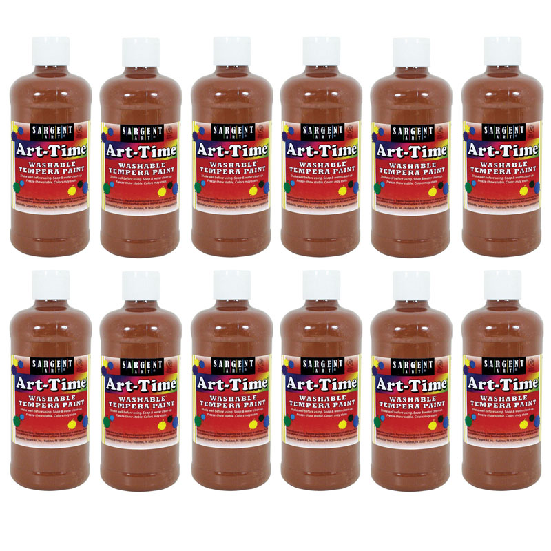 (12 Ea) Brown Art-Time Washable Paint 16 Oz SAR173488BN