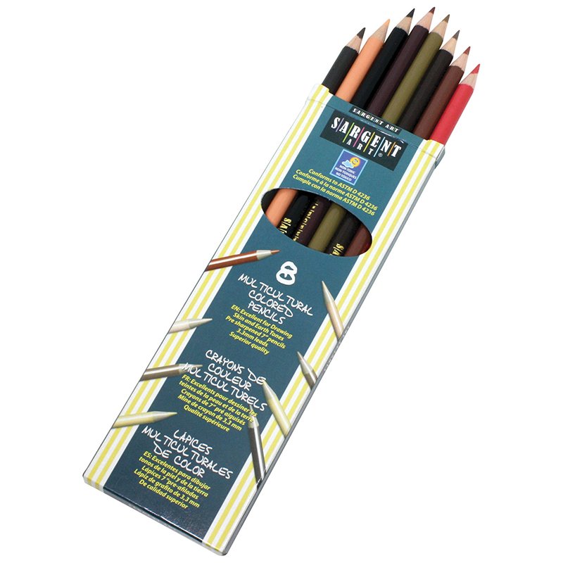 (12 Bx) Sargent Clrs Of My Friends Multicultural Pencil 7In 8 Per Bx SAR227208BN