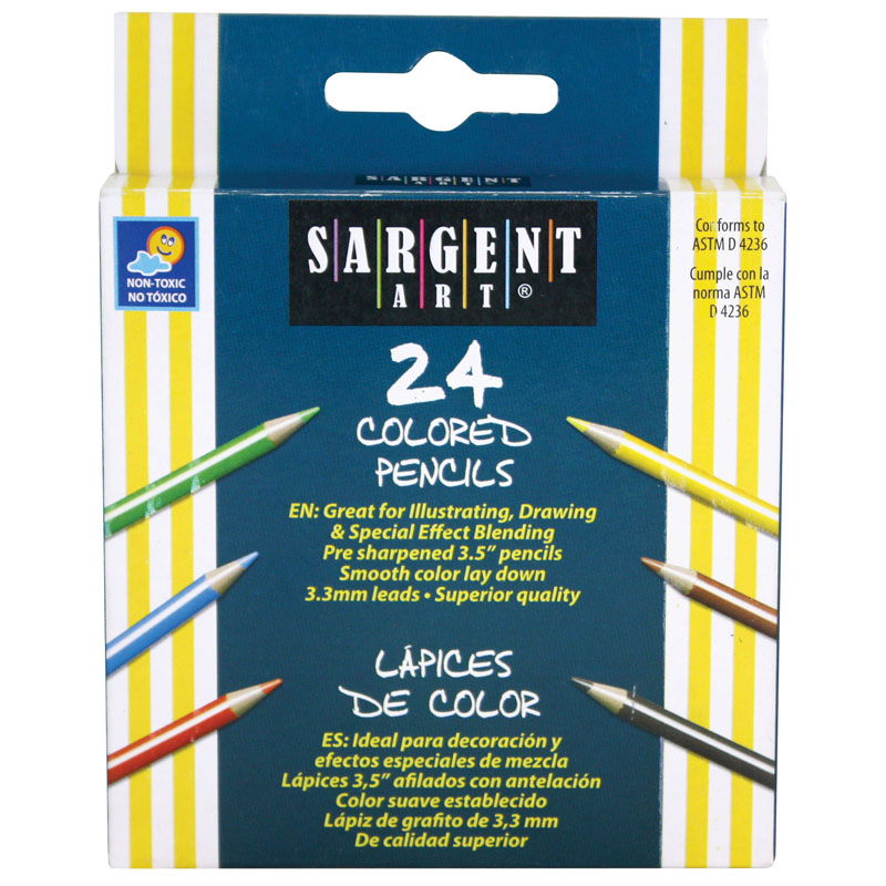 (12 Bx) Sargent Art Half-Sized Colored Pencils 24 Per Pk SAR227218BN