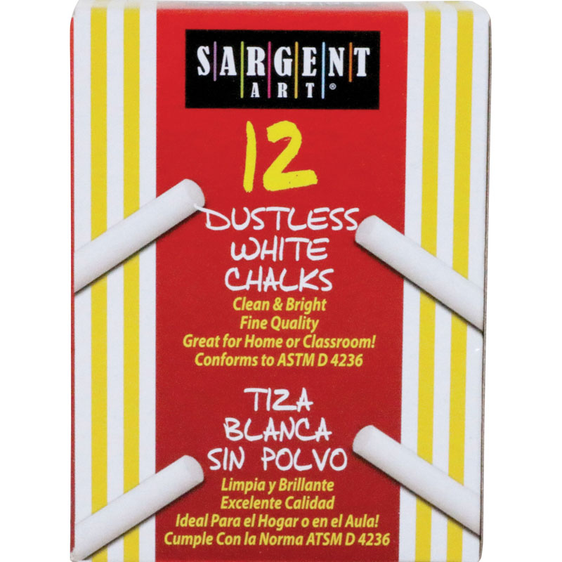 Sargent School Gr Dustless Chalk White - Zerbee