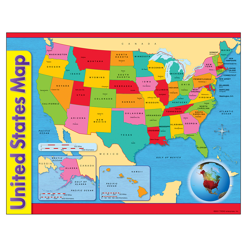 (12 Ea) Chart Usa Map 17X22 Gr 1-8  T-38097BN