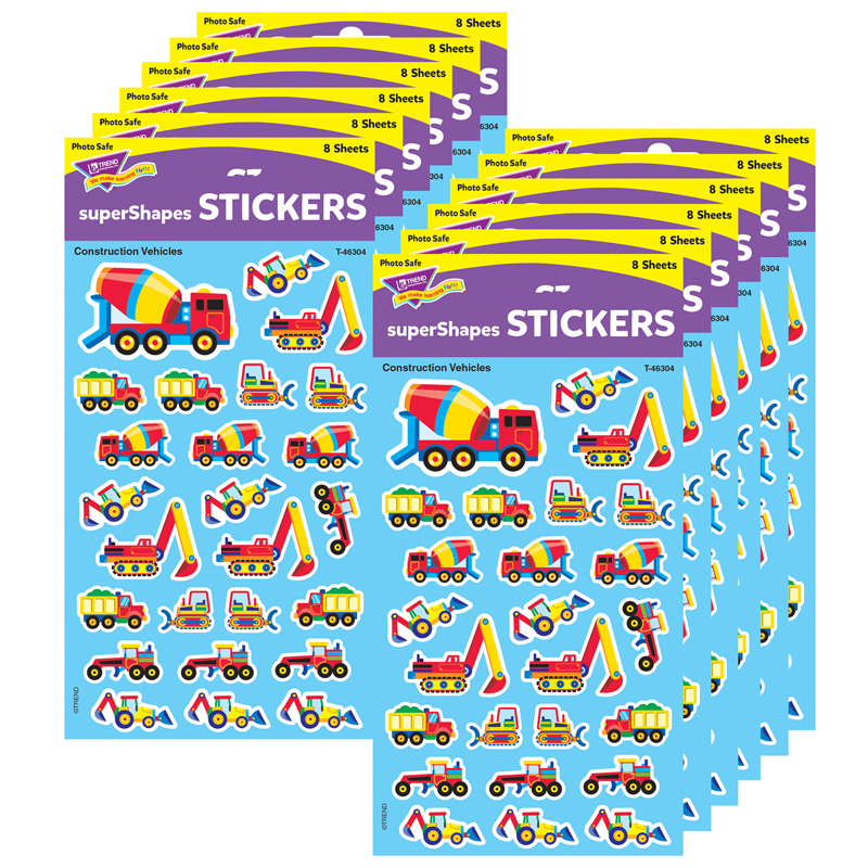 (12 Pk) Supershapes Construction Vehicles T-46304BN