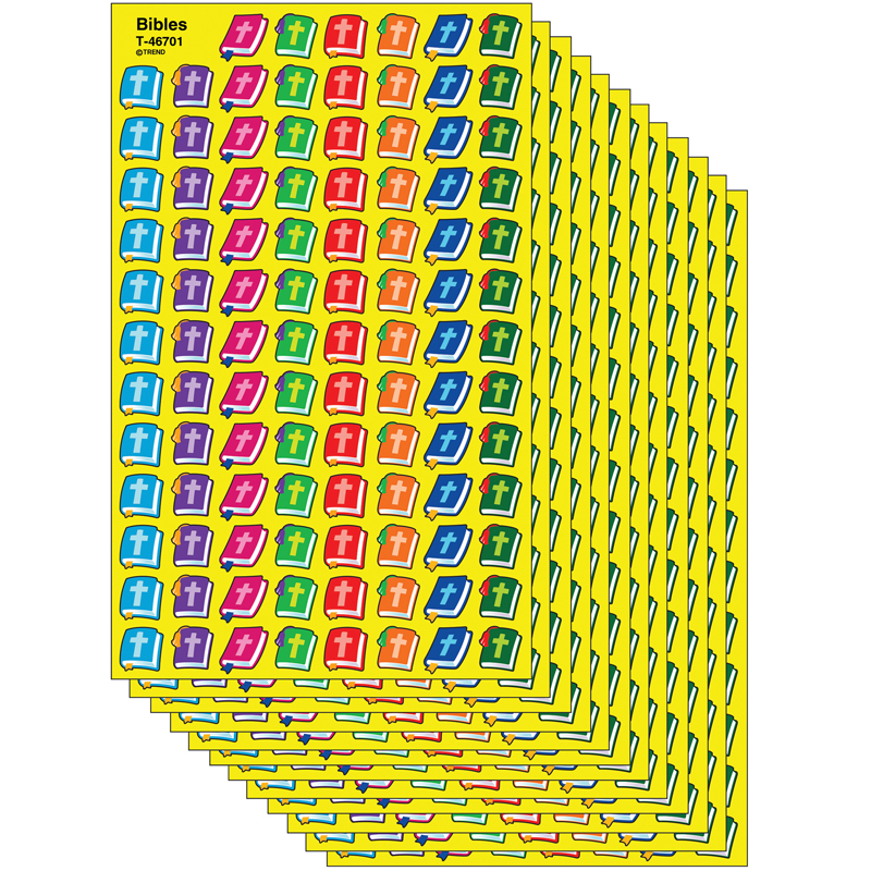 (12 Pk) Supershapes Stickers Bibles  T-46701BN