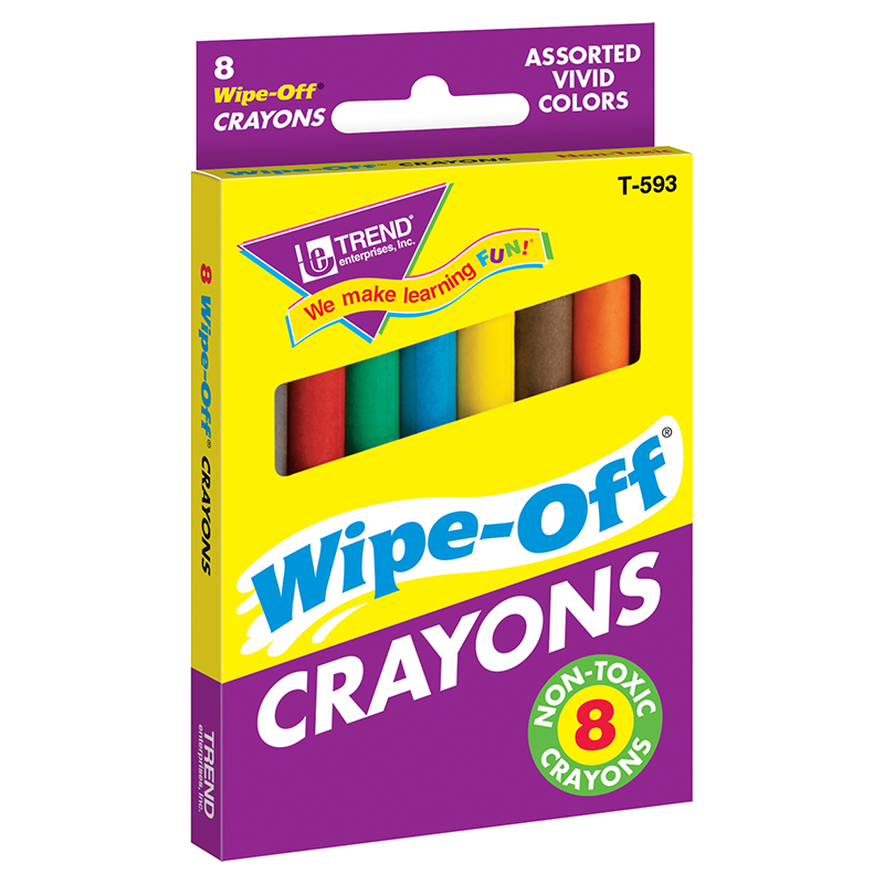 (12 Bx) Wipe-Off Crayons Regular 8 Per Pk T-593BN