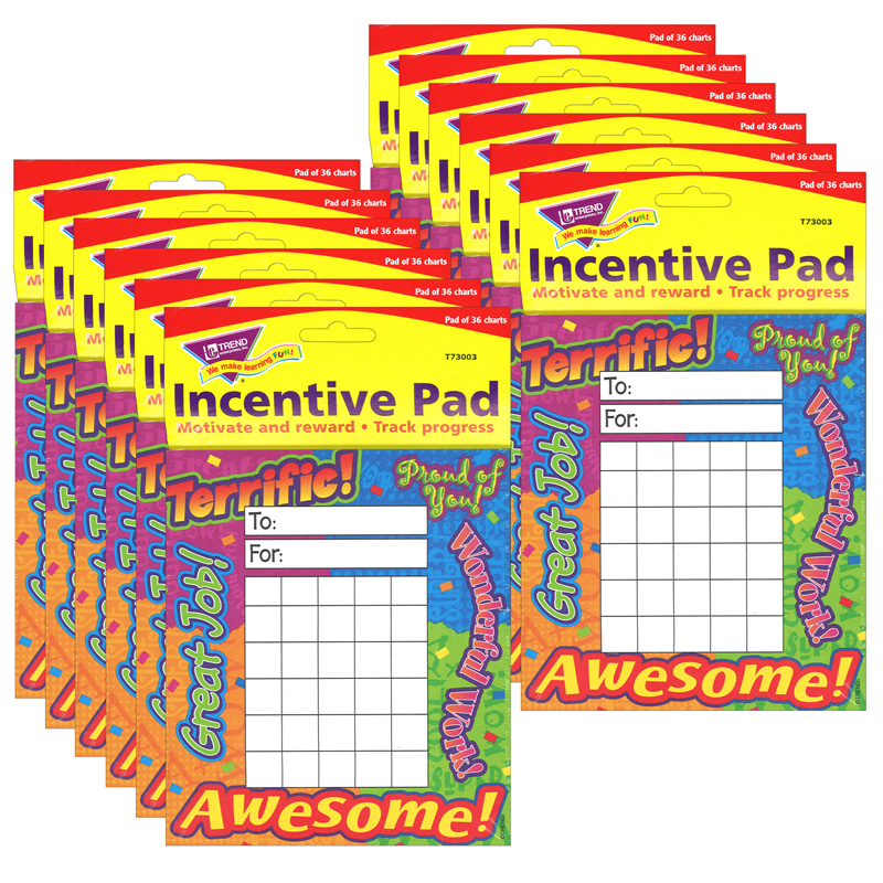 (12 Ea) Incentive Pad Reward Words  T-73003BN