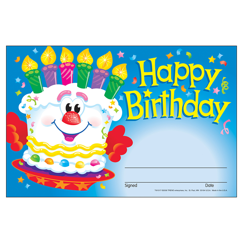 (12 Pk) Awards Happy Birthday Cake  T-81017BN