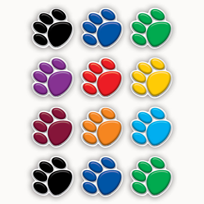 (12 Pk) Colorful Paw Prints Mini Accents TCR5116BN
