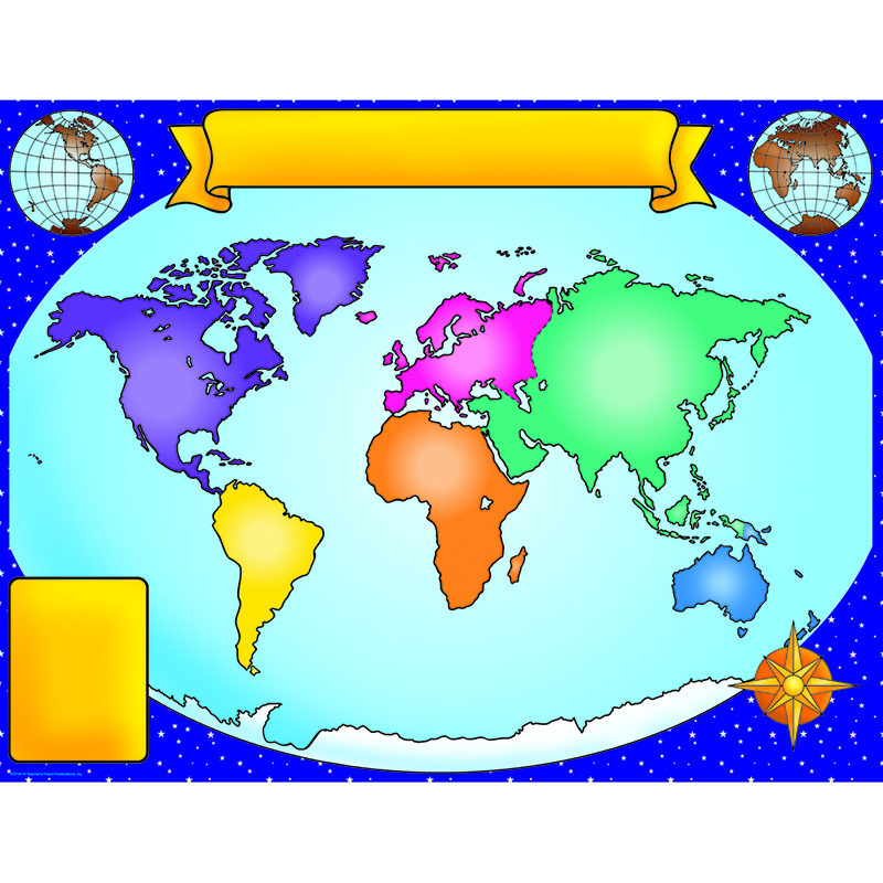 (12 Ea) World Map Friendly Chart 17X22 TF-2141BN