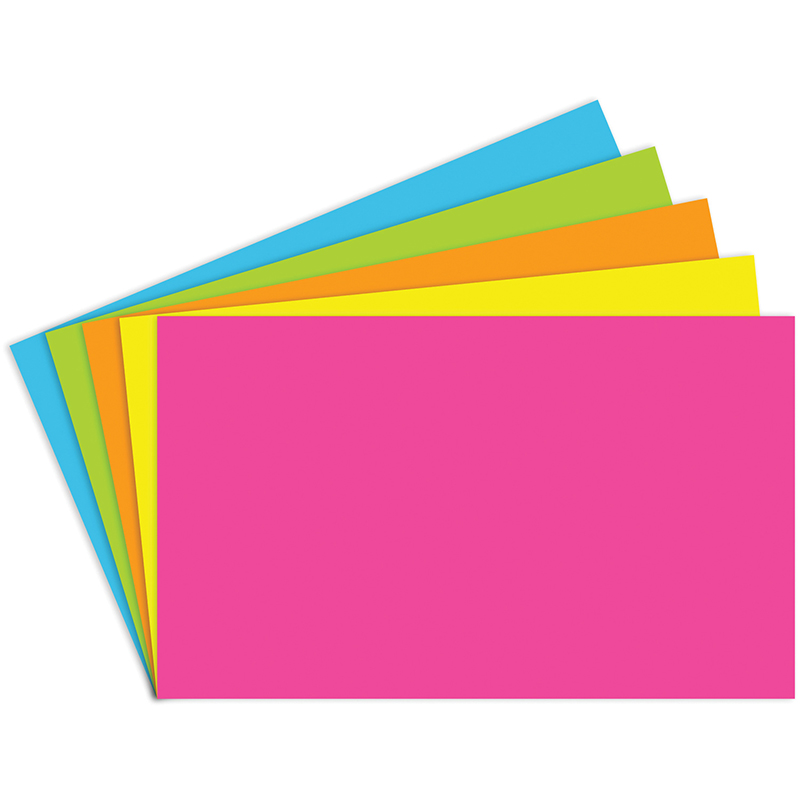 (10 Pk) Index Cards 3X5 Blank 100 Per Pk Brite Assorted TOP360BN