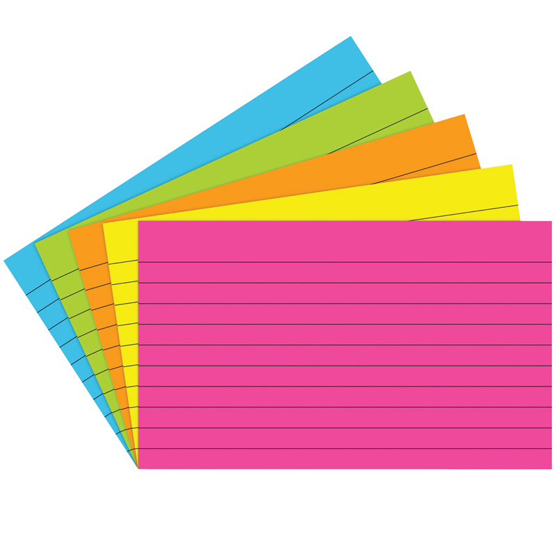 (10 Pk) Index Cards 3X5 Lined Brite Assorted 75 Per Pk TOP362BN