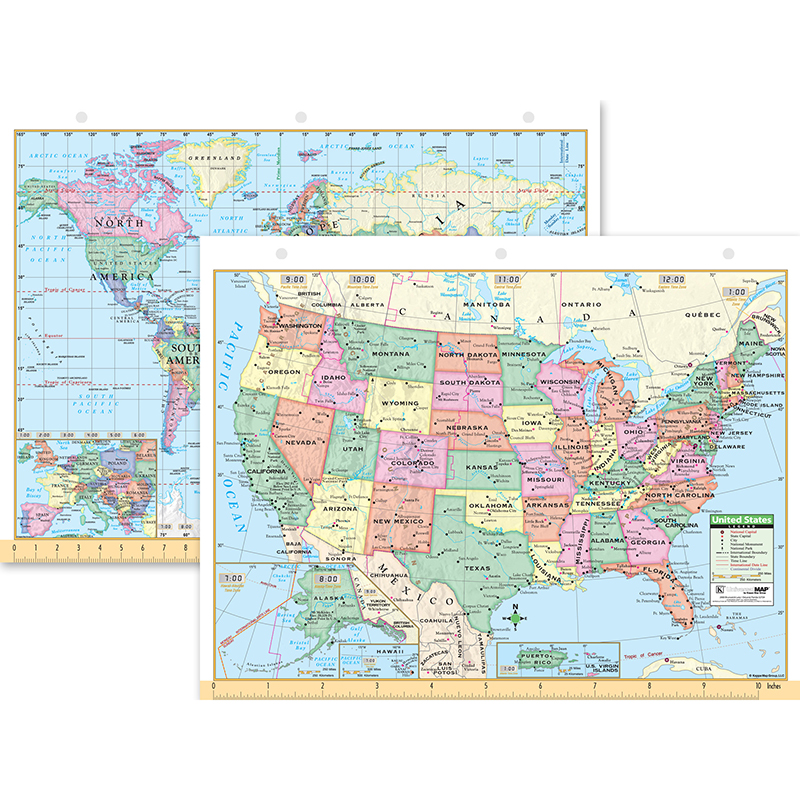 (12 Ea) Us & World Notebook Map 8.5X11 UNI15024BN